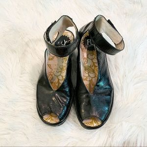 Fly London Yala Perf Patent Leather Wedge Sandal
